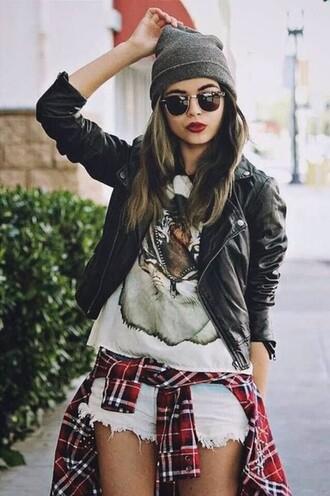jacket grunge hipster motorcycle leather jacket short