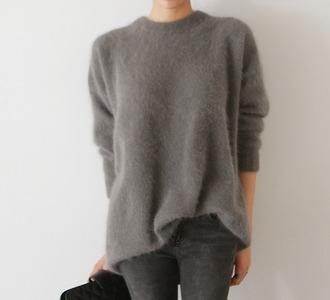 sweater faux fur grey pull winter sweater
