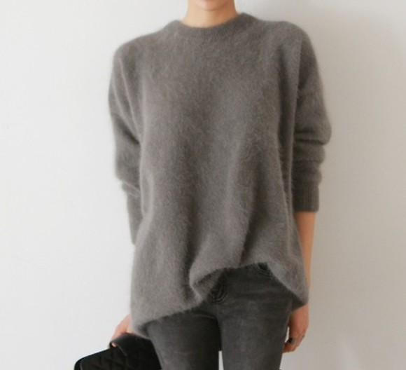 sweater pull faux fur grey winter sweater