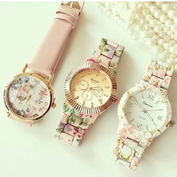 jewels watch floral watches watch floral watch gold pink cute girly hipster floral flowers white clock clock wannakissu bag vintage