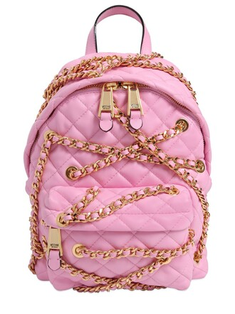 mini quilted backpack leather backpack leather pink bag