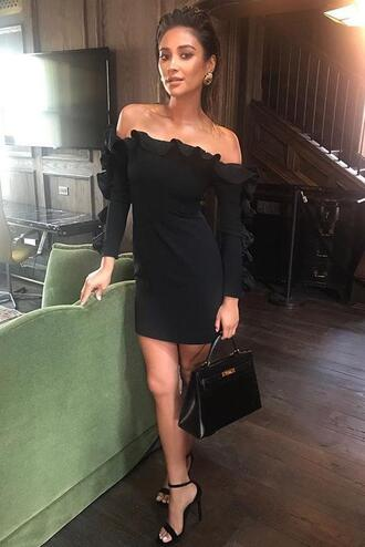 dress black dress mini dress sandals shay mitchell instagram nyfw 2017 ny fashion week 2017 fashion week