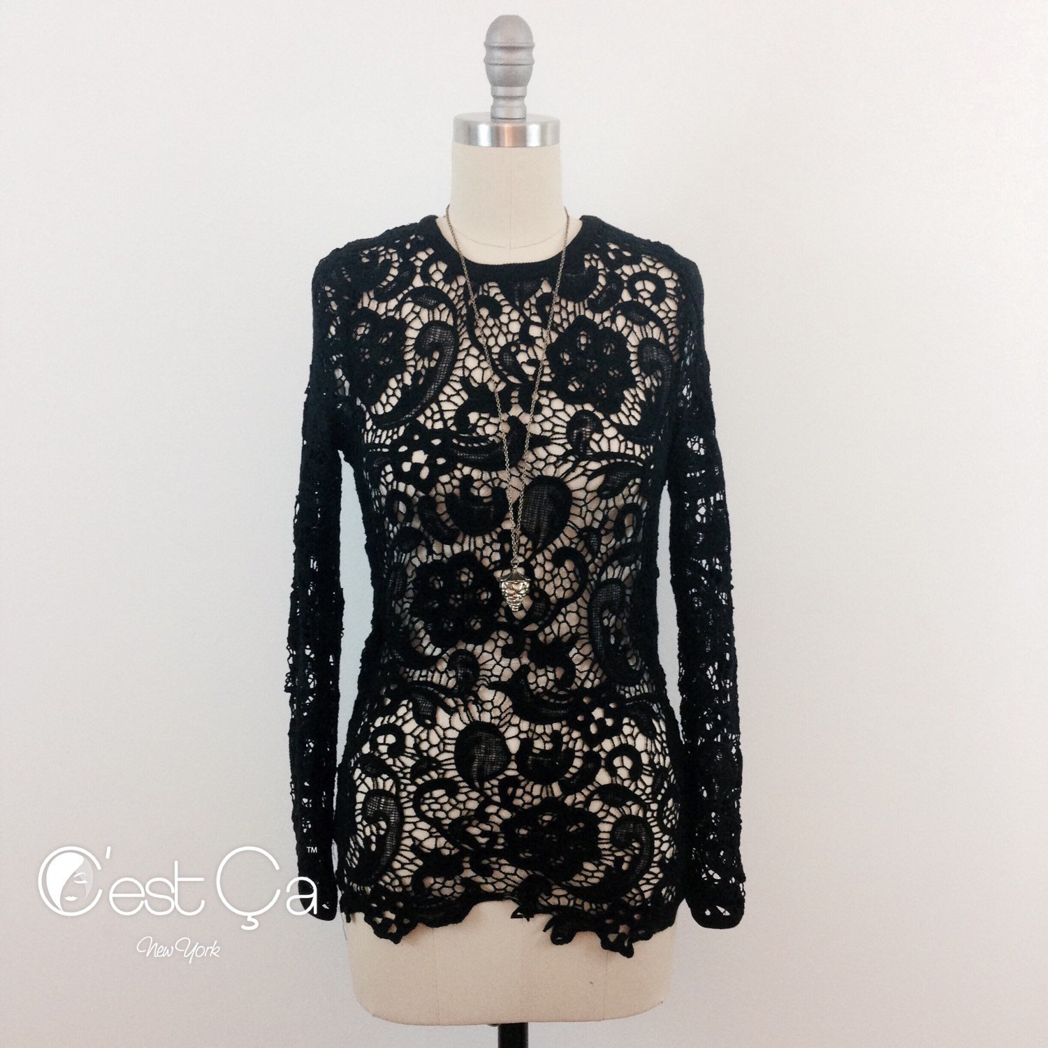 SALE Sonia Black Crochet Blouse / Lace Fitted Shirt / Crochet Tight Top