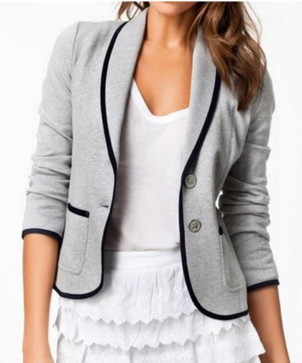 jacket gray blazer grey blazer lapel blazer slim blazer gray and black grey and black www.ustrendy.com