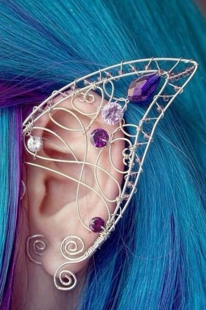 jewels fairy earrings fairy ear purple gems elf jewelry cute elf ear diamonds cuff ears earrings ear jewel fantasy halloween costume elf ears gorgeous beautiful love ear cuff pinterest earring jewlery