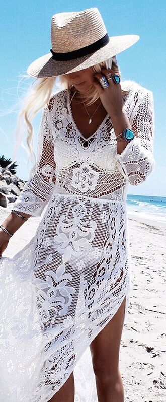 dress beach party beach dress white dress maxi dress swimwear two piece bikini white bikini hat straw hat cover up white lace dress long sleeve lace dress