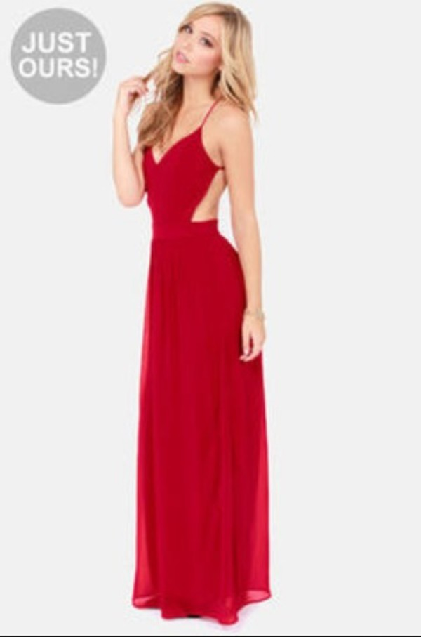 dress red backless prom dress