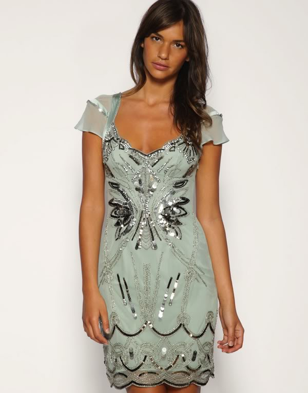 Green Cocktail Dress - Bqueen Diamante Dress Green K153G | UsTrendy
