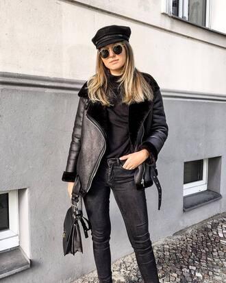 jacket black jacket top tumblr shearling jacket leather jacket black leather jacket denim jeans black jeans black top sunglasses bag black bag
