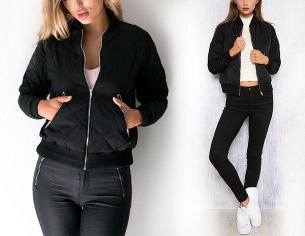 black jacket black bomber jacket bomber jacket black jeans white top high waisted jeans white sneakers