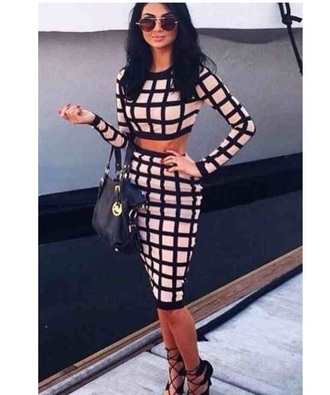 dress black grid dress grid line dress grid line skirt bodycon grid line top bodycon dress two-piece two piece dress set