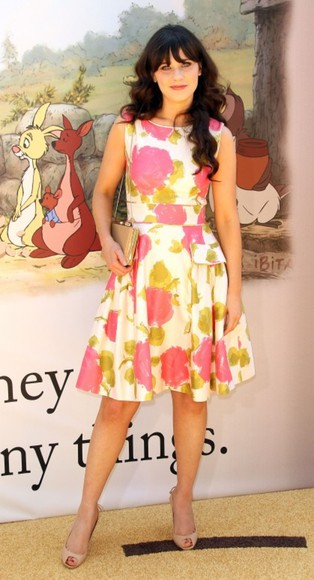 zooey deschanel white dress pink dress yellow dress
