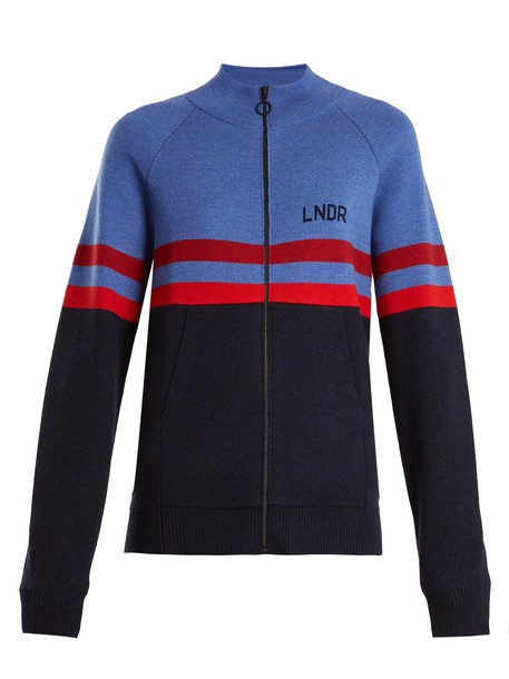 lndr sweater wool sweater zip wool blue