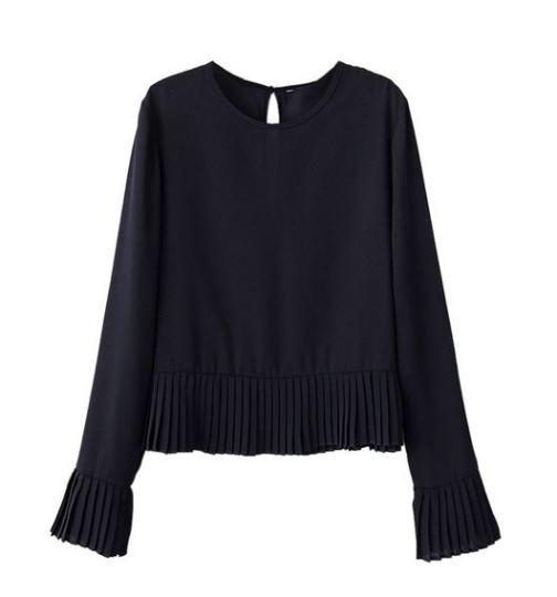 Black ruffle bottom cropped blouse