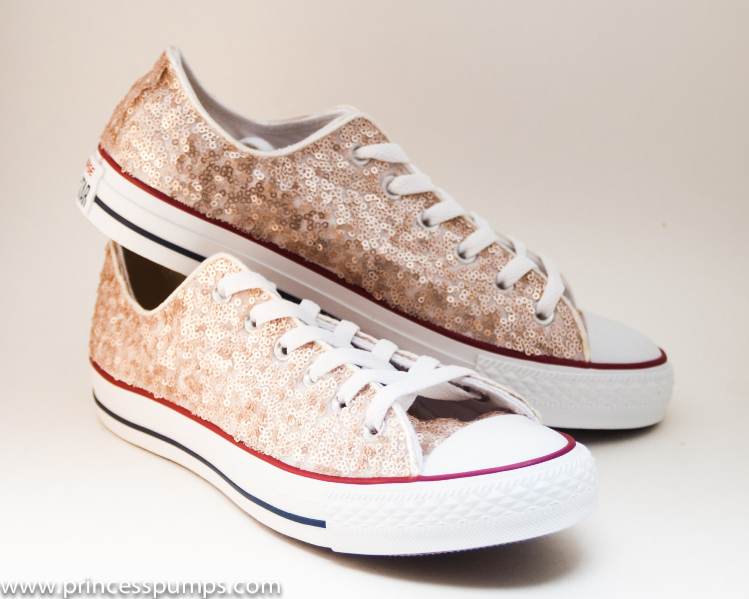 ac92321ede19e Sequin Champagne Gold Canvas Converse Canvas Low Top Sneakers Tennis Shoes