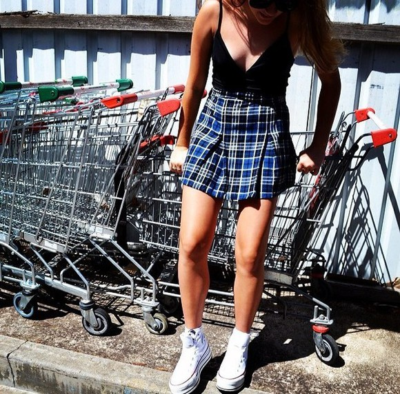skirt blue skirt plaid skirt