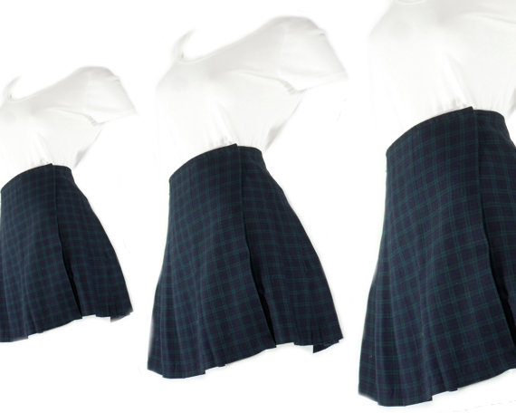 956fe95a25 Pleated Plaid Skirt XS S // 90s Plaid Skirt // High Waisted Green Plaid  Skirt // School Girl ...