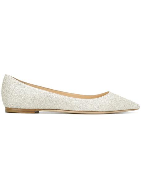 Jimmy Choo glitter women flats leather grey metallic shoes