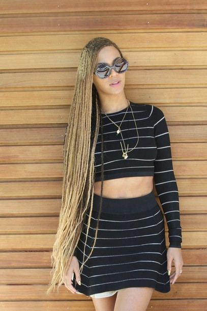 beyonce two-piece box braids dress skirt long sleeves black skirt pencil skirt high waisted skirt top black top crop tops summer top black crop top cute top fashion style stylish outfit clothes outfit idea summer outfits cute outfits spring outfits date outfit party outfits clubwear two piece dress set necklace accessories summer accessories sunglasses jewelry round sunglasses black sunglasses