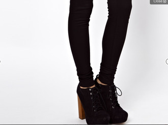 shoes heel boots lace-up boots wooden heel