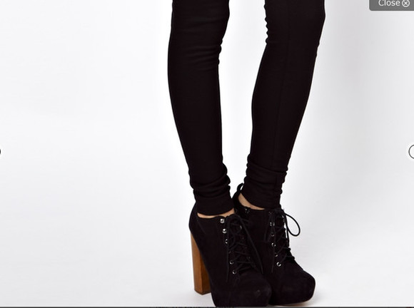 shoes wooden heel heel boots lace-up boots