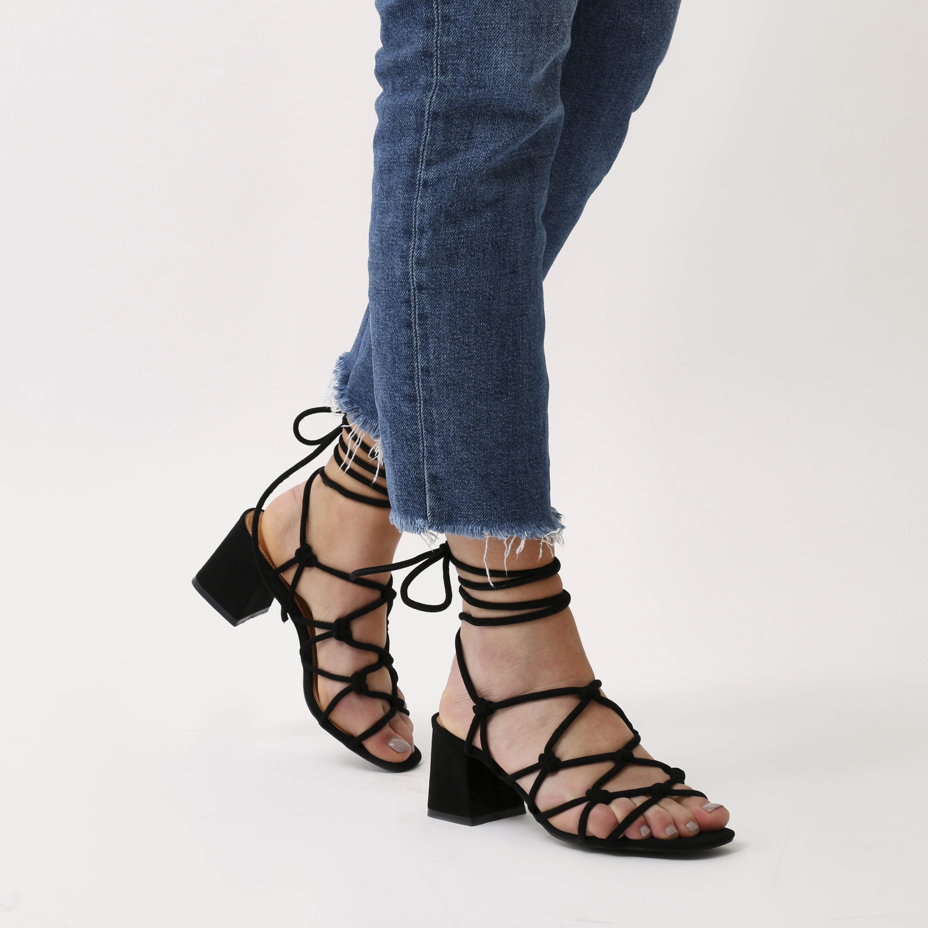 81b63d507a1 Freya Knotted Strappy Block Heeled Sandals in Black Faux Suede