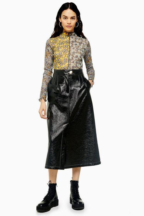Black A-Line Vinyl Midi Skirt - Black