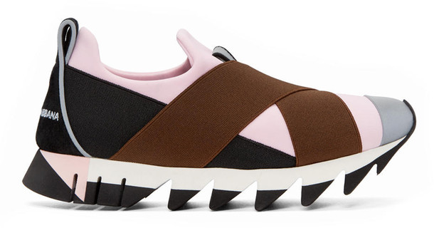 Dolce and gabbana black and pink straps slip on sneakers wheretoget