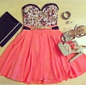 dress,shoes,flowers,tank top,clothes,shirt,skirt,pink,belt,crop tops,floral,high heels,bag,bustier,jupe,talon,chaussures talons hauts,summer,ceinture,white,saumon,blouse,top,cute dress,sweetheart dress
