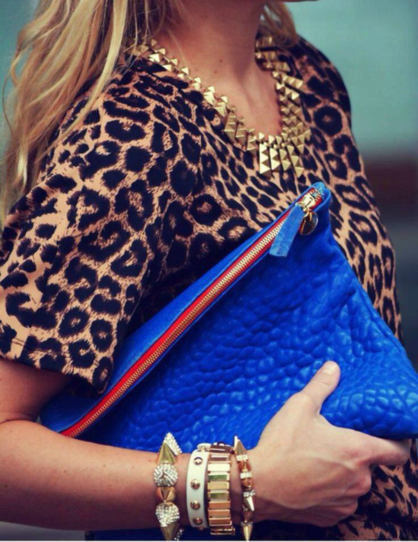 shirt spikes gold bag jewels animal print statement necklace jewelry blouse