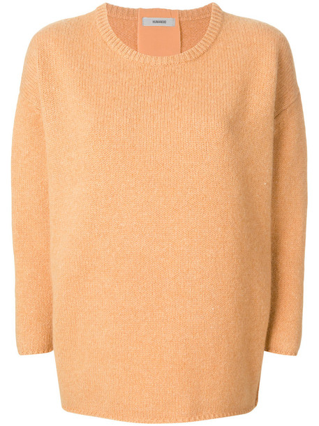 humanoid jumper women silk yellow orange sweater