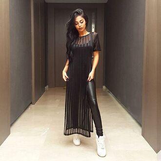 top maniere de voir black maxi stripes vertical t-shirt