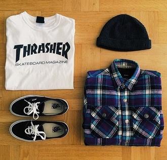 t-shirt thrasher white black long sleeves beenie vans skater shirt