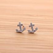 jewels,jewelry,earrings,stud,stud earrings,anchor,anchor earrings,arrow