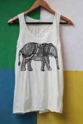 tank top,white,elephant,black accent,cute,boho,hippie,animal,zoo