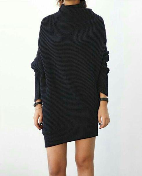 dress sweater dress oversized black black dress