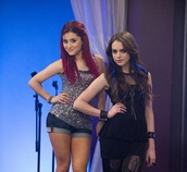silver,tv,glitter,black,ariana grande,elizabeth gillies,victorious,see through,tv show,tights,skirt,shorts,wrist band,bracelets,shirt