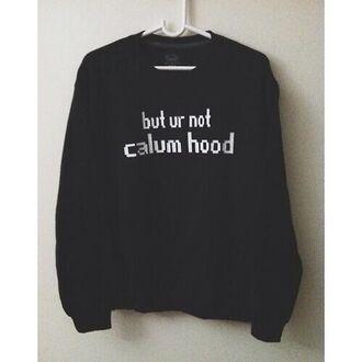 sweater 5 seconds of summer calum hood fangirl music black black sweater coat black hoodie
