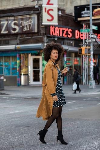 coat tumblr camel camel coat dress mini dress tights boots black boots