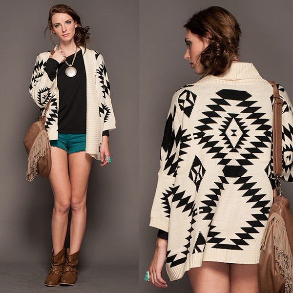 sweater tribal pattern aztec graphic print cardigan cardi vanityv vanity row dress to kill fall outfits fashion tribal pattern