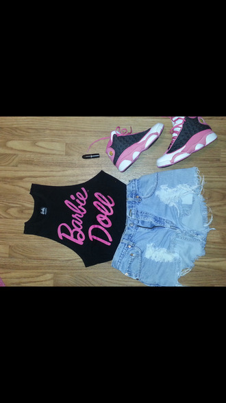 shirt blackbarbie forever 21 my daily style fashion style pink jordan's jordans high waisted shorts tank top summer outfits trendy swag shorts shoes