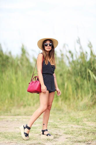 dulceida blogger jumpsuit bag sunglasses hat shoes straw hat red bag espadrilles