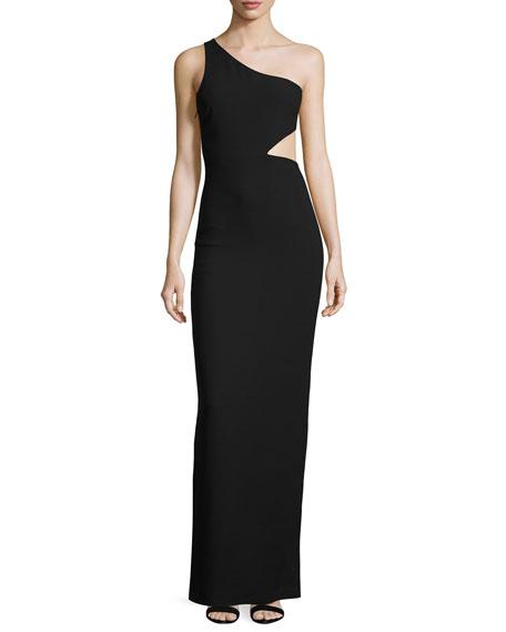 cinq a sept Leonella One-Shoulder Gown, Black