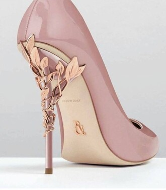 shoes nude heels gorgoues leafs beautiful classy