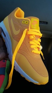 shoes,nike shoes,yellow,air max,nike,nike air max 1,white,neon,bright,cute,tennis shoes,sneakers,shorts,low top sneakers,yellow sneakers