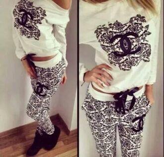 pants top hoodie chanel t-shirt