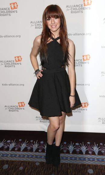 girly little black dress high heels rock christina grimmie