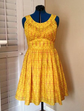 dress,clothes,summer dress,yellow,printed dress
