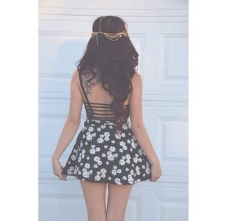 skirt daisy jewels flowers black and white stylish dress