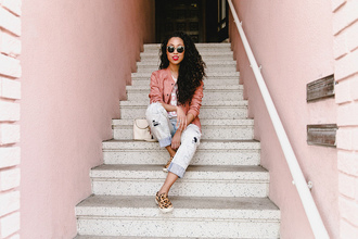 pancake stacker blogger t-shirt jacket sunglasses pink jacket slip on shoes spring outfits shoes flats jeans